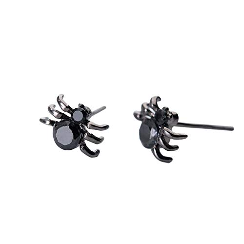 OK-STORE Spider Earrings with a Gift Jewelry Box, Metal Alloy Cool Stimulated Spider Ear Studs Funny Punk Unisex Trendy Black Spider for Men and Women Halloween Fashion Jewelry (mini -
