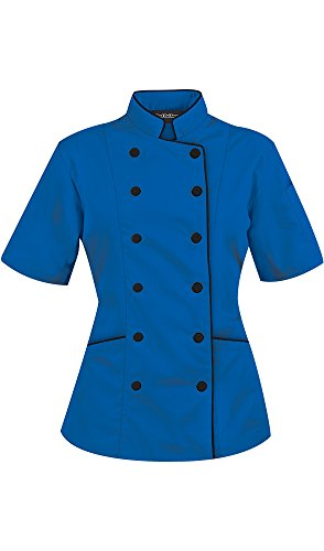 Women's Ocean Blue Chef Coat with Piping (XS-3X) (XXX-Large) by ChefUniforms.com (Image #4)