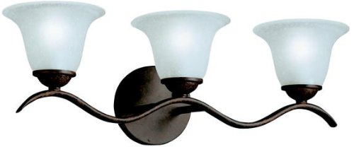 6323TZ Dover 3LT Vanity Fixture, Tannery Bronze Finish with Etched Seedy Glass