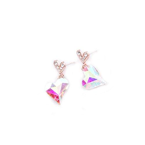 Auwer Grop-Earrings Jewelry! Fashion Zircon Earrings Diamond-Encrusted Love Heart Earring Ear Drop for girls (Multicolor)
