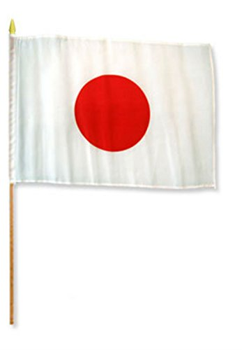 ALBATROS 12 inch x 18 inch Japan Stick Flag with Wood Staff for Home and Parades, Official Party, All Weather Indoors Outdoors