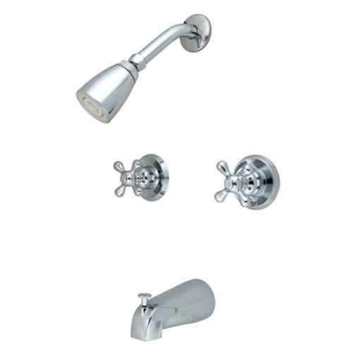 Kingston Brass KB241AX Twin Handle Tub and Shower Faucet with Decor Cross Handle, Polished Chrome by Kingston Brass