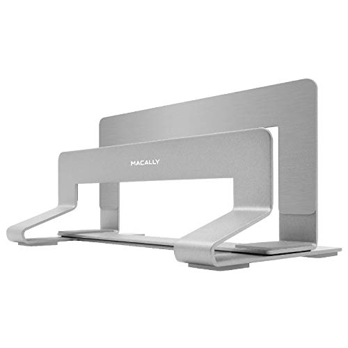 Macally Vertical Laptop Stand for Desk Space - Adjustable Vertical Stand Cradle - Laptop Holder - Apple MacBook Pro Air/Asus Chromebook Flip Samsung Notebook 9 Lenovo ThinkPad Dell XPS Acer Switch ()