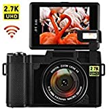 COMI Digital Camera with WiFi 24.0 MP Vlogging Camera 2.7K Ultra HD 3.0 Inch Camera with Flip Screen Retractable Flashlight, G03