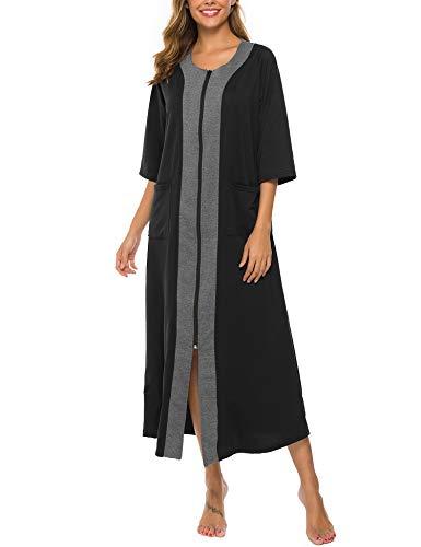 Bloggerlove Women Half Sleeve Sleepwear Zip-Front A-line Bathrobe Long Robe Plus Size Nightgown with Pockets (Navy Blue,XL) (Long Zip Coat)