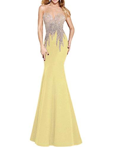 f954d26c754 OYISHA Womens Scoop Neck Mermaid Prom Dress Long Bead Wedding Evening Gown  EV135 Yellow 8