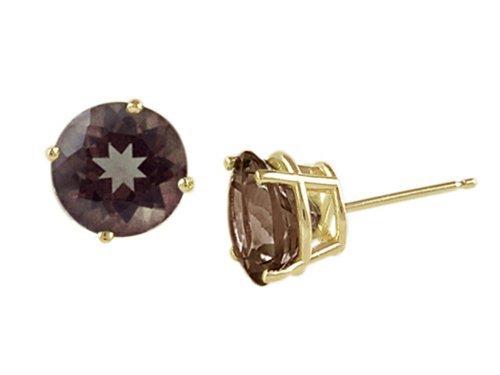 Yellow Quartz Stud - Finejewelers 14k Yellow Gold 8mm Round Smoky Quartz Stud Earrings