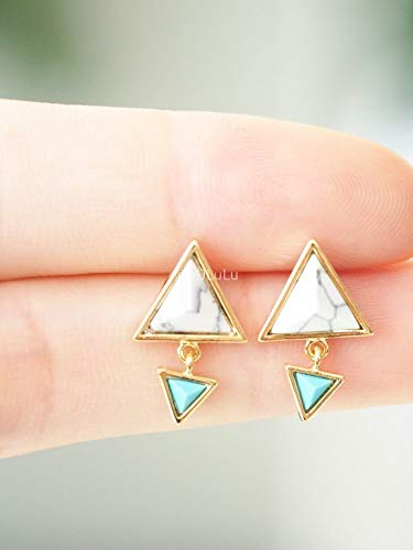 - White Simulated Howlite & Simulated Turquoise Double Triangle Minimal Dangle Stud Earrings