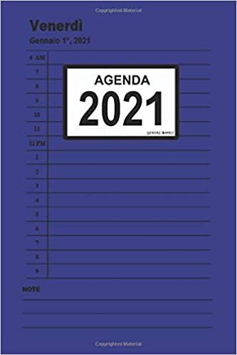Agenda 2021: (Blu) Giornaliera, da gennaio a dicembre 2021