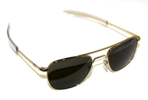 AO Eyewear Original Pilot 55mm Gold Frame with Bayonet Temples and  Color Correct Gray Polarized Polycarbonate Lens (Polarized Gray Frame Lens)