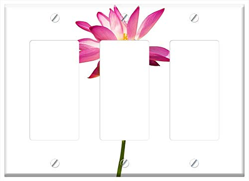 Switch Plate Triple Rocker/GFCI - Cutout Lotus Country White Background Isolated