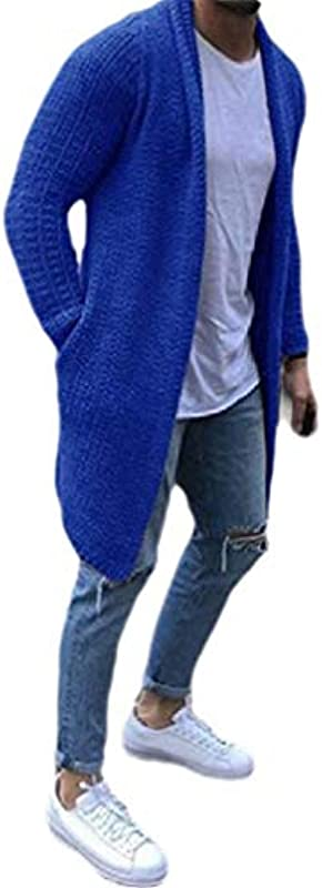 GRMO Mens Autumn Winter Long Sleeve Solid Color Open-Front Knitted Cardigan Sweater Coat: Odzież