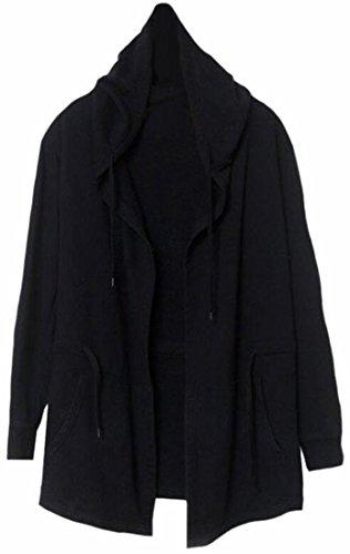 HTOOHTOOH Menâ€s Winter Hooded Cardigan Long Sleeve Cape Cloak Coat Black XXL Mena Coat