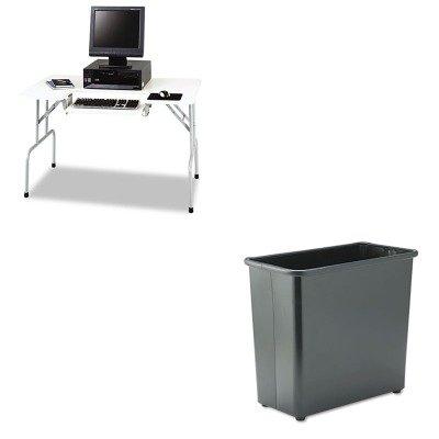 KITSAF1935GRSAF9616BL - Value Kit - Safco Folding Computer Table (SAF1935GR) and Safco Fire-Safe Wastebasket (SAF9616BL)