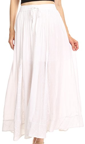 Sakkas V-1051 - Noemi Womens Maxi Flared Bohemian Essential Skirt with Embroidery - White - (Tiered Prairie Skirt)
