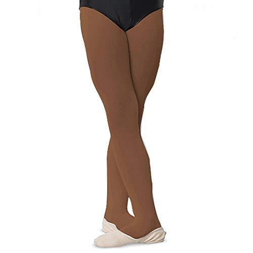 - Girls Childs Dance Tights 100% Stretch Nylon Full Footed Suntan 4-6