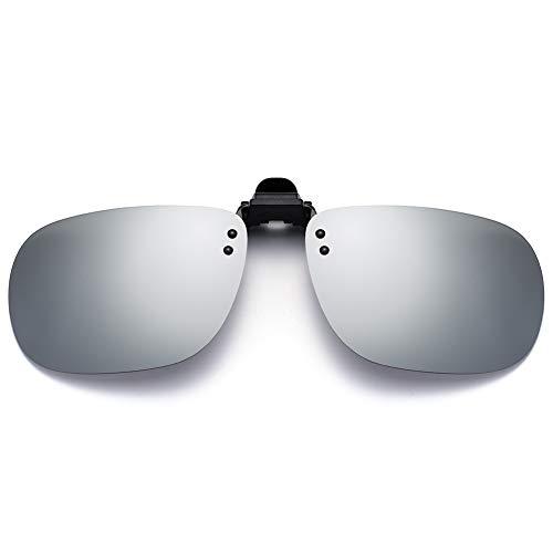 SUNINC Clip On Sunglasses Over Prescription Glasses Polarized Lens Flip Up Shades Driving Sunglasses for Men Women Silver Mirrored Lens Medium Size