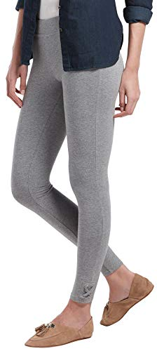 HUE Women's Fashion Cotton Leggings, Assorted, lace hem/gray heather ()
