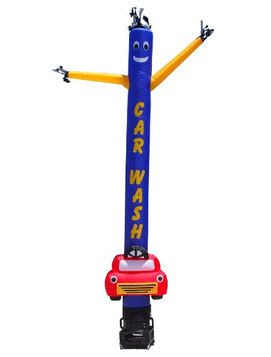 Car Wash Car Shape Air Dancer & Blower Complete Set - Lettering: CAR WASH - 20ft Wacky Inflatable Tube Man Sky Dancer with Blower by LookOurWay