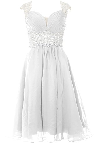 Women Chiffon Macloth Short Party Wedding Formal Gown Dress Prom White Cap Lace Sleeve dqRwA
