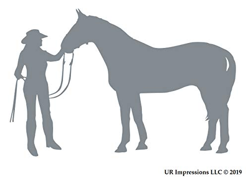 UR Impressions Silv Cowgirl and Horse Decal Vinyl Sticker Graphics for Cars Trucks SUV Vans Walls Windows Laptop|Silver|5.5 X 3.6 -