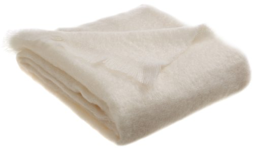 Mohair Wool Throw - Belle Epoque 50-Inch-by-70-Inch Mohair Throw, White