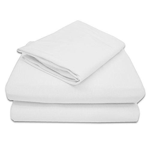 TL Care 100% Natural Jersey Cotton 3 Piece Toddler Sheet Set, White, Soft Breathable, for Boys and ()