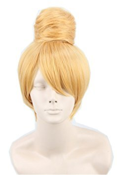 Tinkerbell Halloween Costumes Adults (Women's Fiber Short Straight Cosplay Costume Wig Party Hair Gold)