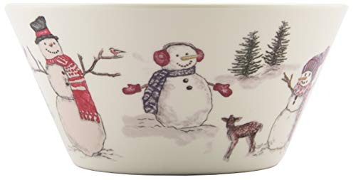 Melange 608410095274 36 -Piece 100% Melamine Bowls Christmas Collection-Snowman Shatter-Proof and Chip-Resistant| 10.5