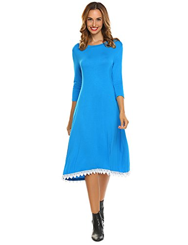 Detail Lace Trim (Halife Womens Round Neck Quater Sleeve Lace Trim Detail High Waist Tunic A Line Dress Blue,XL)