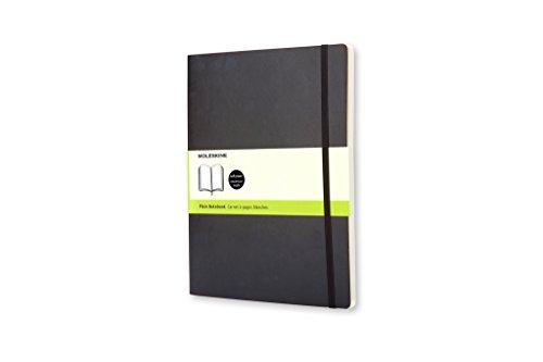 (Moleskine Classic Notebook, Extra Large, Plain, Black, Soft Cover (7.5