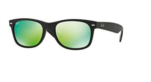Ray Ban RB2132 NEW WAYFARER 622/19 55M Rubber Black/Grey Mirror Green Sunglasses For Men For ()