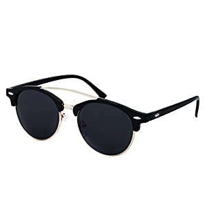 YANQIUYU Classic Retro 50's Semi Rimless 3016 Round Polarized Clubmaster Sunglasses with Metal Rivets (Black/Gold Rimmed, 50)