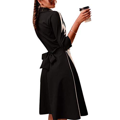 Manga Cuello Vestido 4 Color de para en con V Cuello Fiesta Black Mujer 3 en y Vintage S tamaño V con w8wfA
