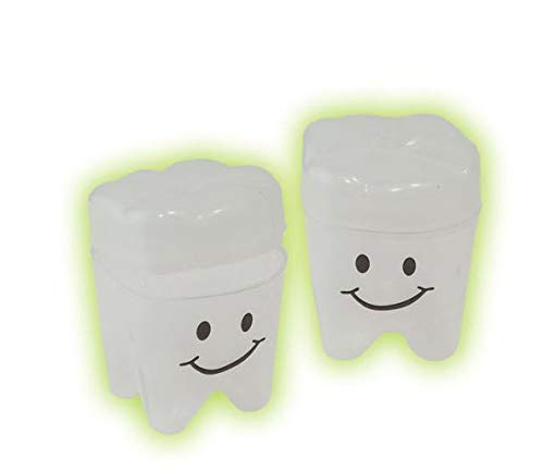 Giggle Time Glow in The Dark Tooth Holder - (72) Pieces - Glow in The Dark - for Kids, Boys and Girls, Party Favors, Piñata Stuffers, Children's Gift Bags, Carnival Prizes, Dental Bags]()