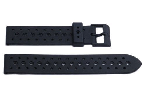 Genuine Synthetic Rubber Black Regular 19mm Watch Band by Swiss Army (Swiss Army Watch Band Loop)