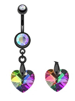 Genuine Light Vitrail Preciosa prism HEART sparkling rainbow ab Dangle Titanium Belly button navel Ring piercing bar body jewelry 14g -