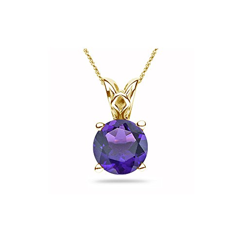 - 2.58-3.40 Cts of 10 mm AAA Round Amethyst Scroll Solitaire Pendant in 14K Yellow Gold