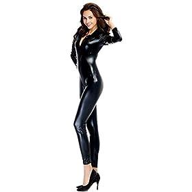 - 31HzBXwKmoL - Ensnovo Womens Shiny Metallic Lycra Spandex Shirt Collar Zipper Catsuits