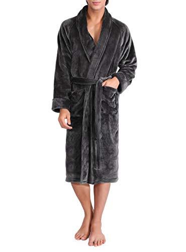 David Archy Men's Micro Fleece Robe Ultra Soft Long Shawl Collar Bathrobe Dressing Gown (M/L, Dark ()