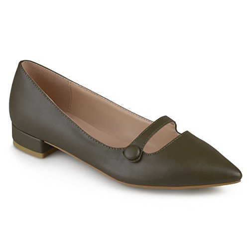 Journee Collection Womens Faux Leather Pointed Toe Flats Olive