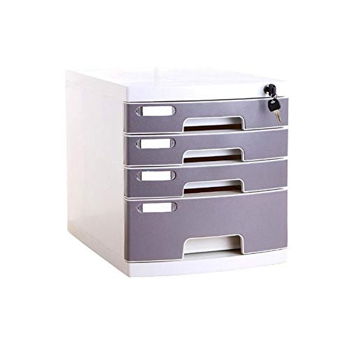 Multi-Layer Plastic Storage Drawers Desk, Storage Unit Organizer Lockable File Cabinet A4 Box for Office (Size : Medium 4-Layers) by Bxwjg