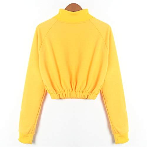 Bellelove Pull Manches sans Bretelles pour Manches Casual avec Sweatshirt Pull Zip Over 2018 Femmes Longues Jaune Mode Longues Femmes 1rqPwF1