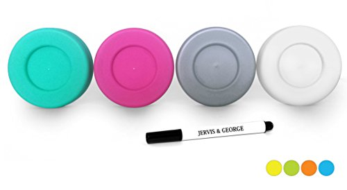 Mason Jar Lids - Compatible with Regular Mouth Size Ball Jars - Reusable and Leak Proof Plastic Lids are BPA Free - Includes Pen for Marking - Pink, Teal, Gray & White - Pack of 4 ()