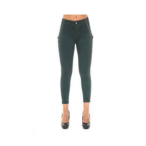 Pantaloni Jeans Da Donna Skinny Fit Con Dettaglio Laterale Lacci Intrecciati Verde Scuro