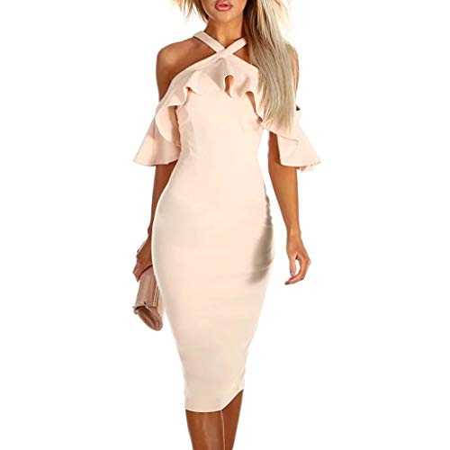- Women Dress JJLOVER Floral Print Cross Strappy Bodycon Dress Cold Shoulder Lace Short Sleeve Sexy Party Wrap Dress Beige