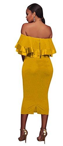 Les Femmes Blansdi Hérissent Off Chic Robe De Soirée Club Crayon Midi Bodycon Épaule Taille Plus Jaune