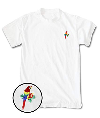 Riot Society Tropical Parrot Embroidered Mens T-Shirt - White, Medium
