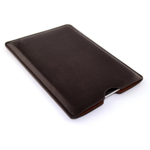 Synthetic Leather iPad Mini Sleeve for iPad Mini 4, 3, 2, & 1 by Dockem; Slim, Simple, and Professional Executive Tablet Case - Soft Felt Lined Dark Brown Basic Protective Pouch Cover