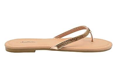 Chatties Ladies Fashion Sandals Metallic Thong Slip On Flip Flops with Embellishments